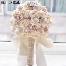 8 цветов Великолепные Свадебные цветы Свадебные букеты Искусственные для свадебного букета со стразами сверкающие с жемчугом buque de noiva