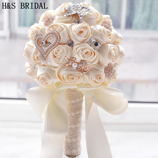 8 Colors Gorgeous Wedding Flowers Bridal Bouquets Artificial Bouquet Crystal Sparkle With Pearls 2018 Buque
