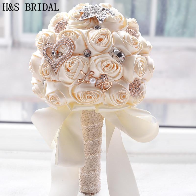 8 Colors Gorgeous Wedding Flowers Bridal Bouquets Artificial Wedding Bouquet Crystal Sparkle With Pearls 2020 Buque De Noiva