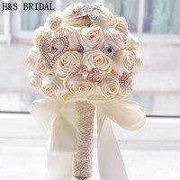 8 Cores Lindo Casamento Flores Bouquets de Noiva Buquê De Casamento Artificial Brilho De Cristal Com Pérolas 2018 buque de noiva
