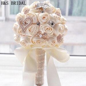 Image 1 - 8 สี Gorgeous ดอกไม้งานแต่งงานเจ้าสาวประดิษฐ์ Wedding Bouquet คริสตัลประกายไข่มุก 2020 Buque de noiva