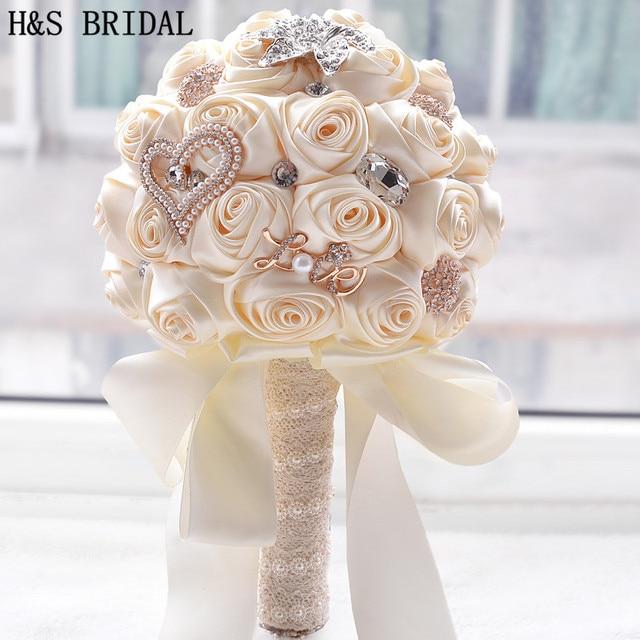 8 สี Gorgeous ดอกไม้งานแต่งงานเจ้าสาวประดิษฐ์ Wedding Bouquet คริสตัลประกายไข่มุก 2020 Buque de noiva