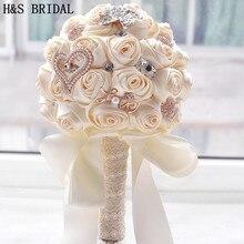 Precioso ramo de flores artificiales para boda, cristales brillantes con perlas, 8 colores, 2020