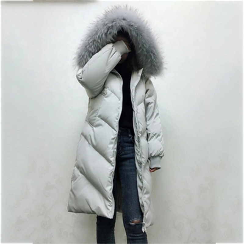 Large size Women   Down     Coat   outerwear winter female long Big Fur   down     coat   women   down     coats   jackets warm woman   down   parka FC12