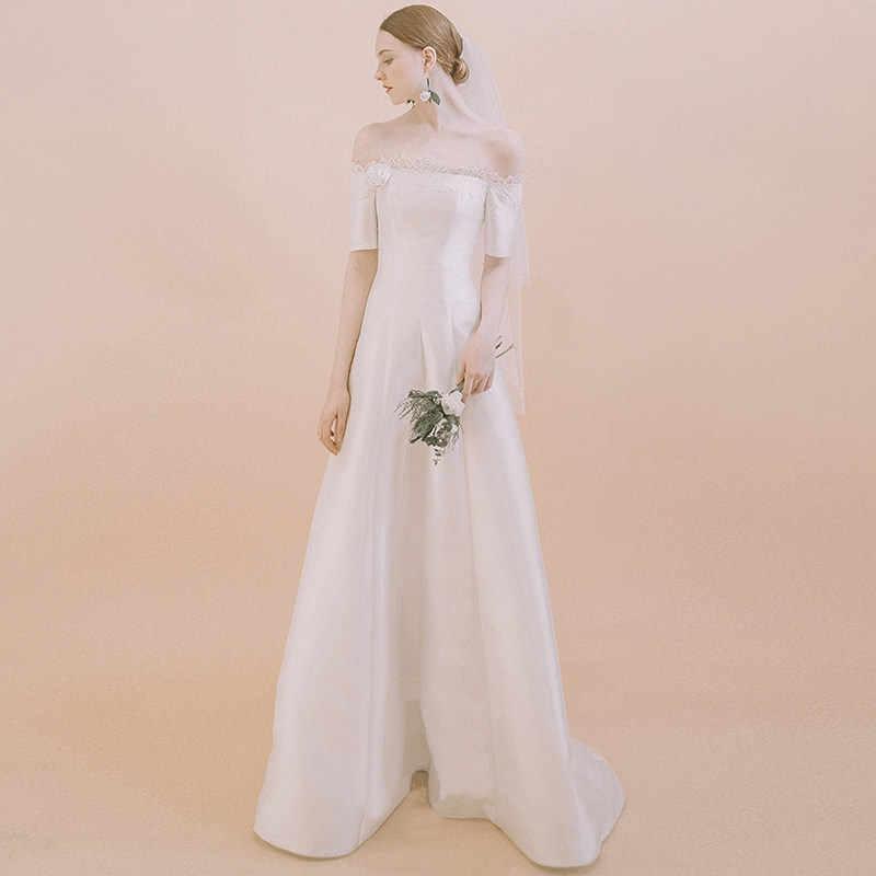 b21cd093fc8 Простые Свадебные платья 2019 Элегантный с плеча старинные свадебные одежды  Vestido De Noiva цвета слоновой кости