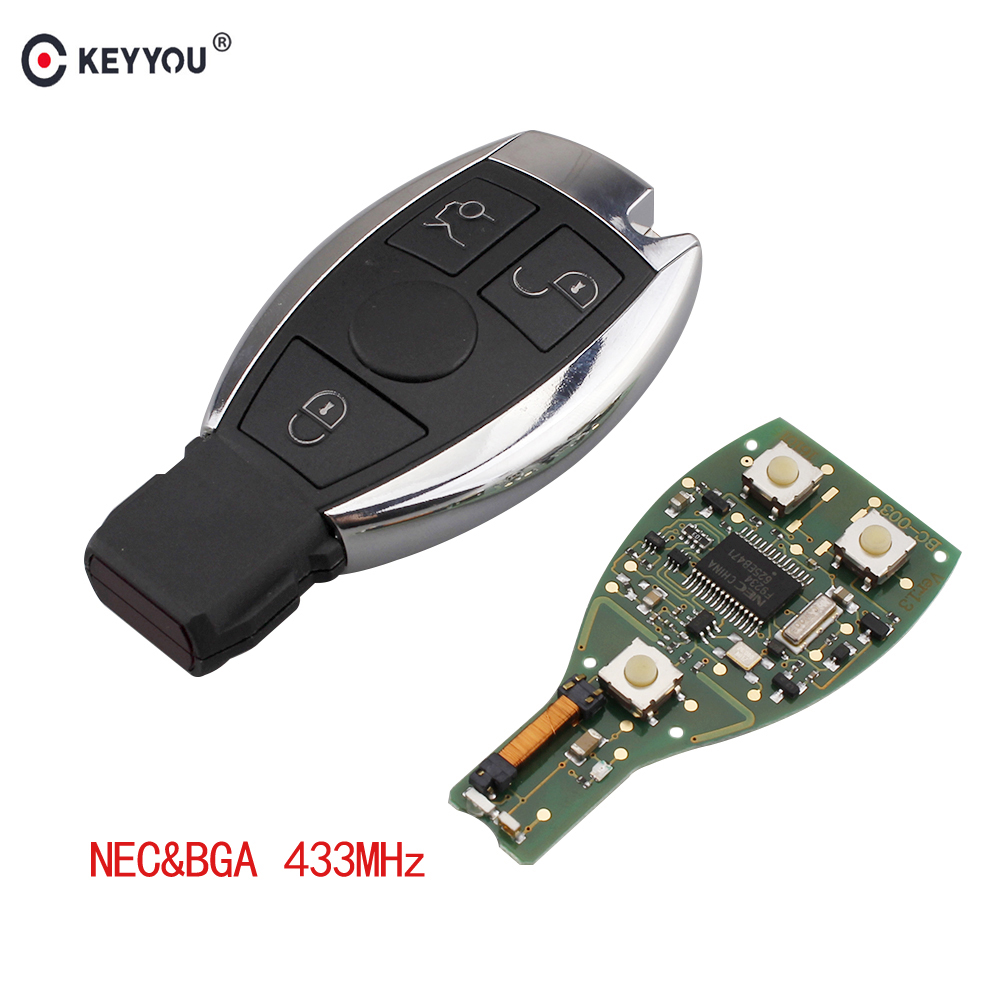KEYYOU 433MHZ Remote Car Key Fob Case 3 Buttons Remote Car Key Shell Key For Mercedes Benz year 2000+ NEC&BGA Control цена