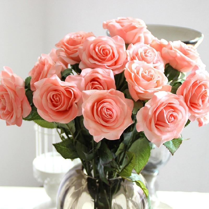 Alto grado de simulación rosa húmeda rosa fresca flores artificiales multicolores Real Touch Rose flores decoración para el hogar