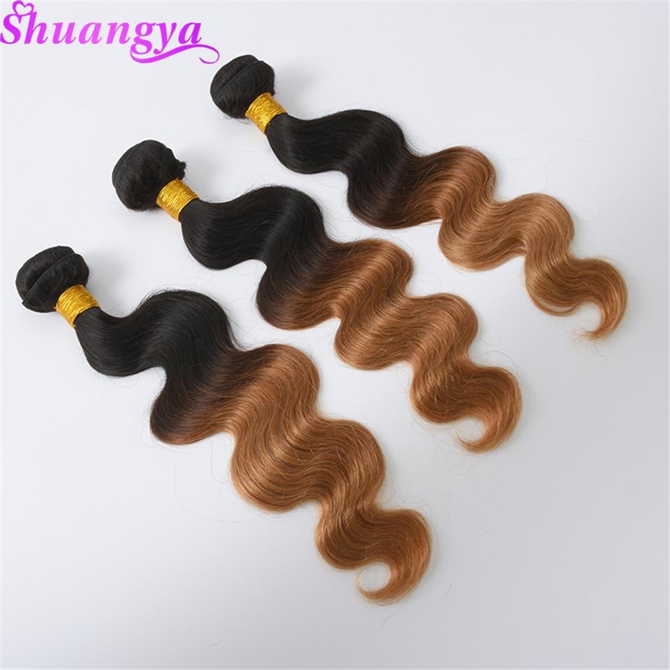 Blonde Peruvian Body Wave Hair 3 Bundles Ombre Human Hair Weave Bundles Two Tone 1B /27 Hair Extensions Remy Hair Free Shipping