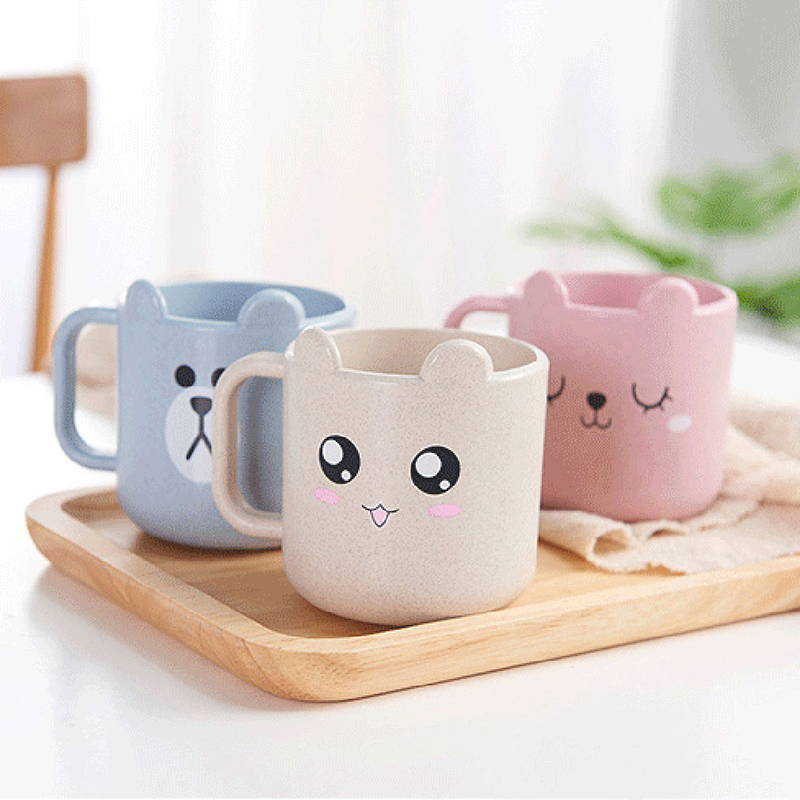 1Pc Wheat Fiber Children's Water Cup Environmental Health Baby Feeding Cup Cartoon Milk Juice Cup For Kids