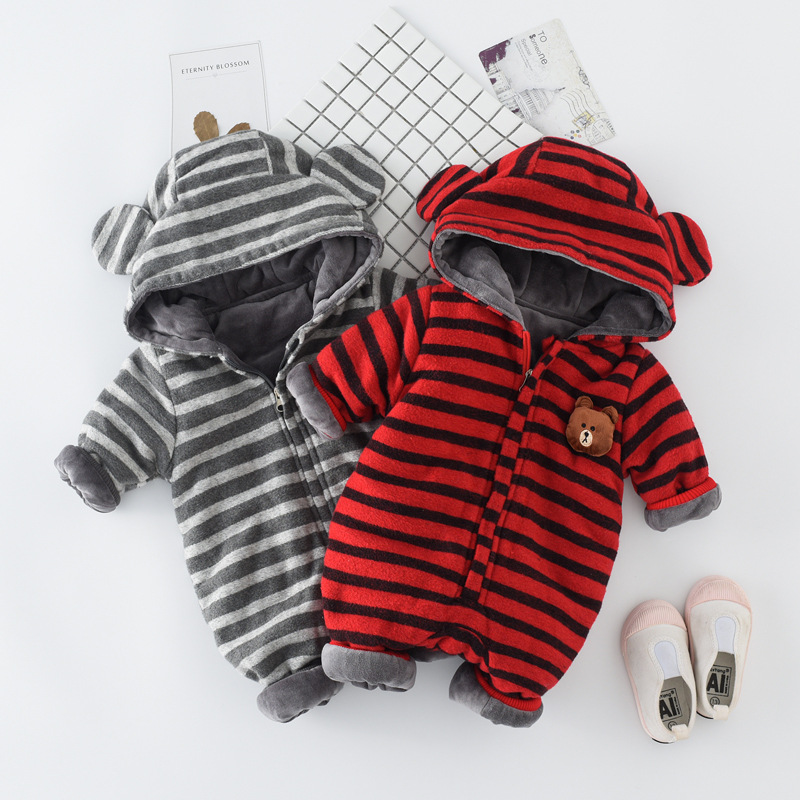 Winter Newborn Baby Romper Cartoon Hooded Baby Clothes Cotton Warm Infant Girls Jumpsuit Toddler Baby Boy Clothing winter baby rompers organic cotton baby hooded snowsuit jumpsuit long sleeve thick warm baby girls boy romper newborn clothing