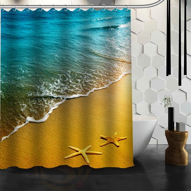 Custom New Waterproof Shower Curtain Bathroom Beach Spa Seashell Starfish Stones Candle And Llower