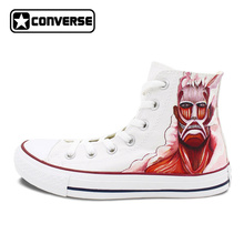 Men Women Converse All Star Shoes Anime Attack On Titan Design Hand Painted Shoes White Sneakers
