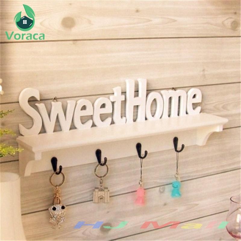 "1Pc ""Sweet Home"" Shelves Hat Key Holders 4 Hooks Storage Shelf Hanging Hooks Wall Mounted Rack Home Holder Storage Hanger Home"