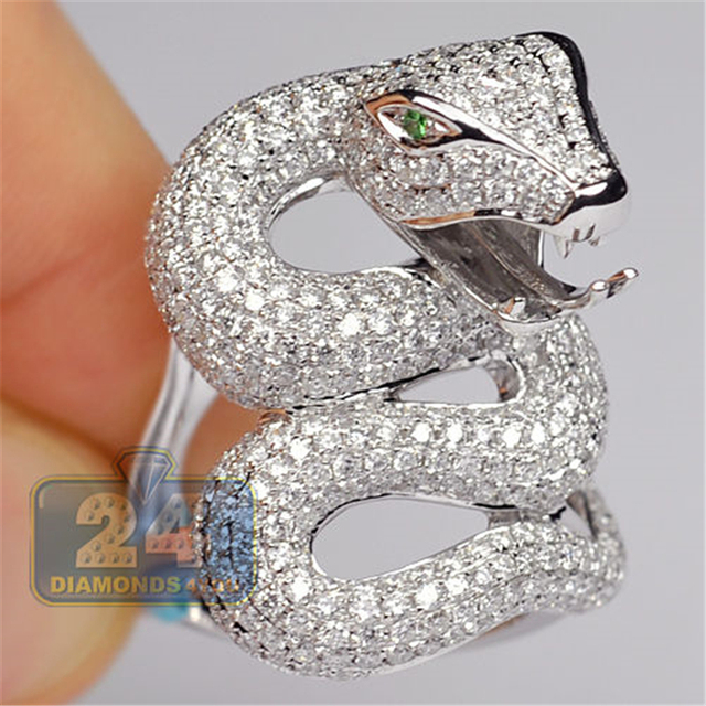 Snake Silver Color Party Ring Anniversary Silver Color Ring Green Crystal Rings for Women Men Jewelry Anillos Mujer O5X570