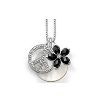 7095601050f8 De disco y Negro flor y signo de la paz colgante collares para mujeres de  plata