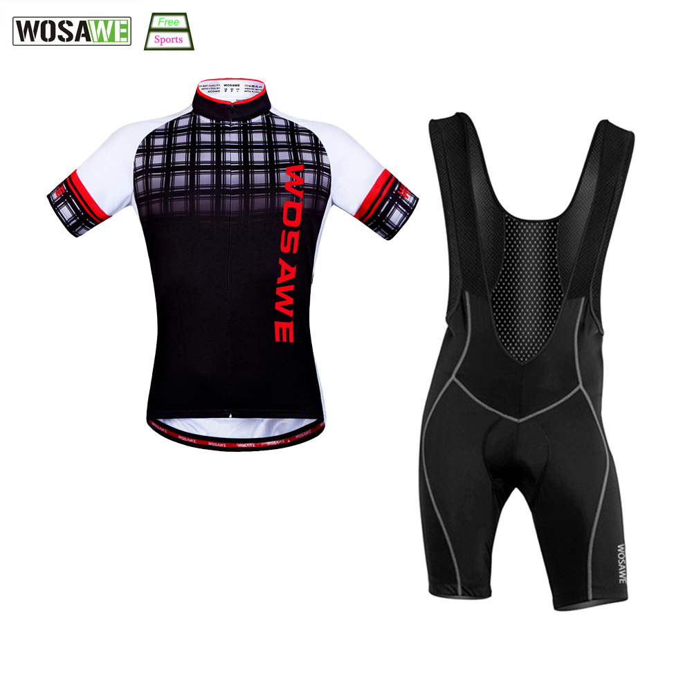 WOSAWE New Cycling Jersey Set Mountain Bike Breathable shirts + Bib Shorts Bicycle Jerseys Clothes Cycling Shorts High Quality mountain bike four perlin disc hubs 32 holes high quality lightweight flexible rotation bicycle hubs bzh002