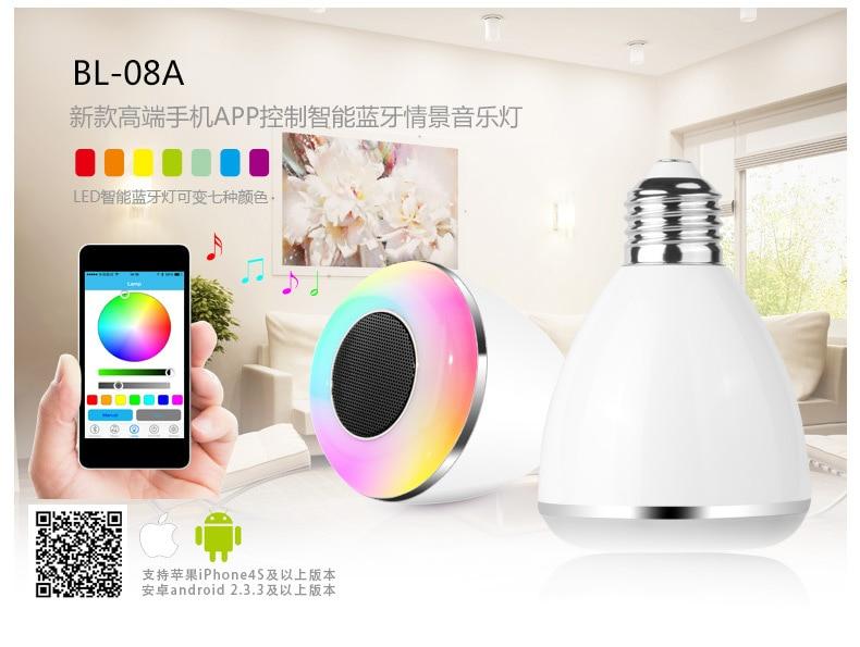 Bluetooth haut-parleur lampe à LED ampoule de musique 6 W lampe intelligente E27 6 W 110 V-240 V ampoule pour iPhone IOS iPad Android APP caixa de som