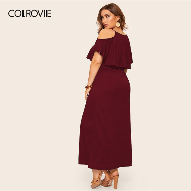 COLROVIE Plus Size Cold Shoulder Solid Maxi Dress Women 2019 Summer Casual Short Sleeve High Waist Elegant Office Ladies Dresses 4