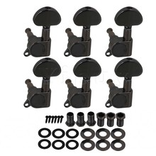 Yibuy 6x Left Black Nickel Plated Heart-shape Head Guitar Machine Head