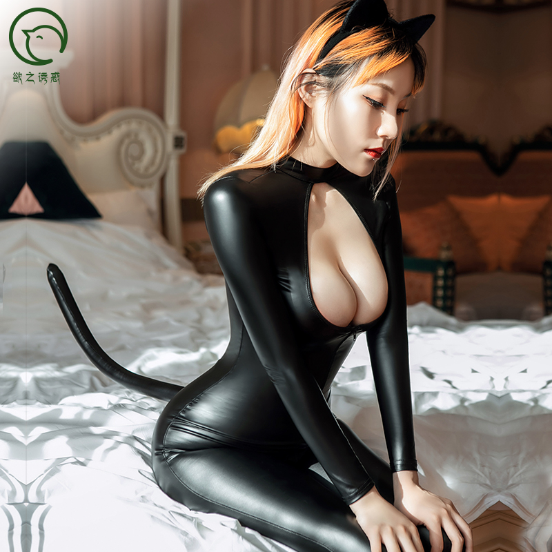 Hollow Out Long Zipper Open Crotch Bodysuit Cosplay Eyra Cat Girl Catsuit PU Leather Catsuit Rompers Womens Jumpsuit Set Teddies