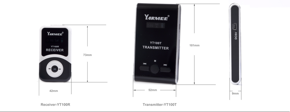 Yarmee professional one way microphone whisper talkie walkie portable wireless tourist listening assistance guiding system YT100