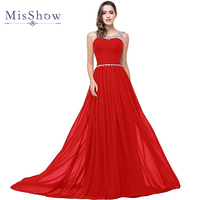 Final Clear Out Royal Blue Red Crystal Beaded Long Evening Dresses Robe De Soiree Elegant