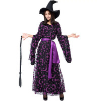 Adult Women Halloween Purple Moon Magic Broom Witch Wizard Costume Funny Cosplay Outfit Long Dress For Ladies