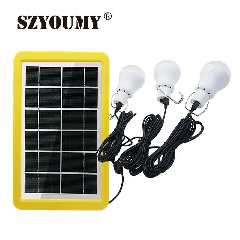SZYOUMY Solar Power Outdoor Light 1 To 3 15W Solar Lamp Portable Bulb Solar Energy Lamp Led Lighting Solar Panel Camp Tent Light