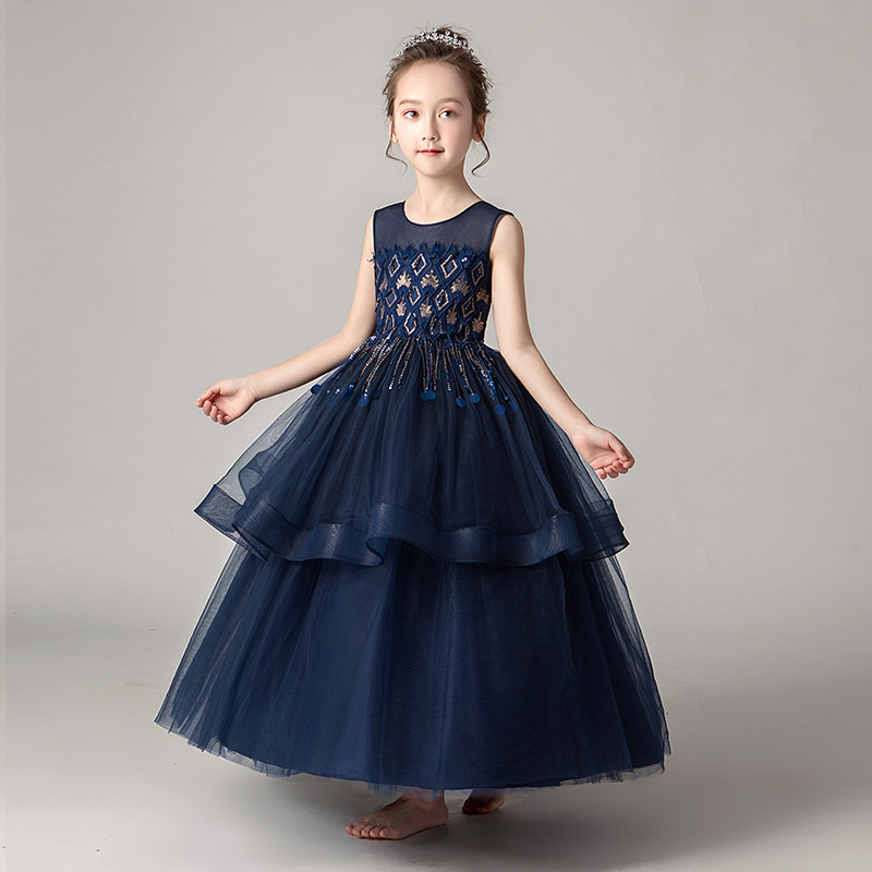 Girls   Tulle Gown   Flower     Girl     Dress   For Weddings Summer New Sweet Fashion Sequin Sleeveless Lace   Dress   Big   Girls   Long Ball Gown