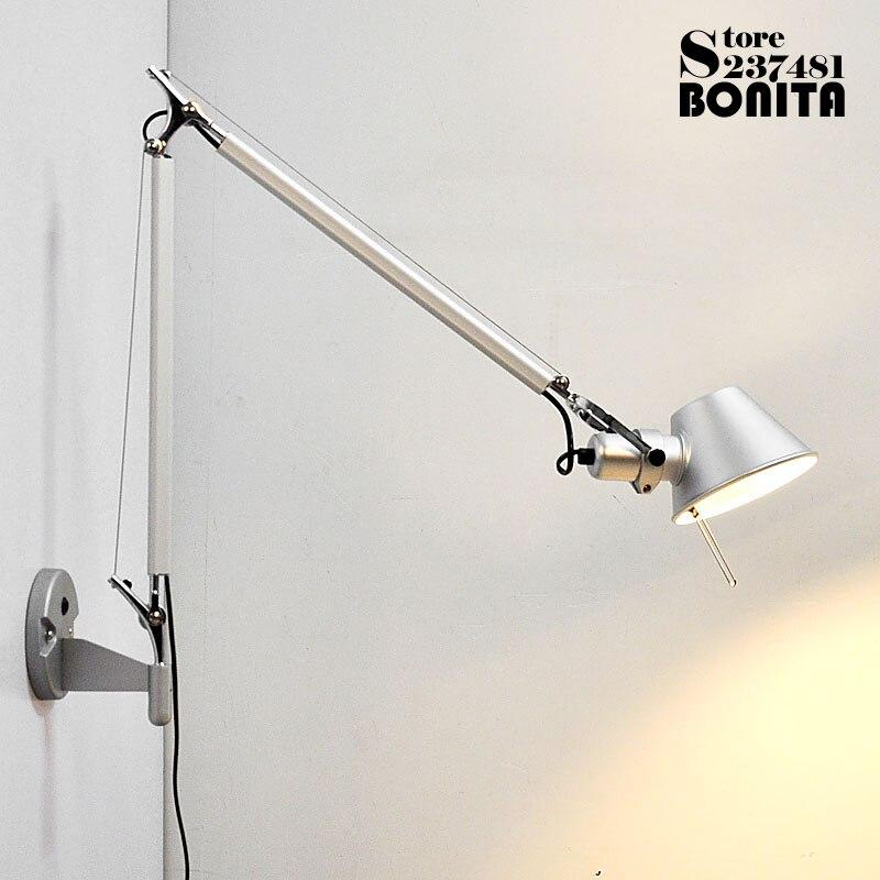 Semplice e moderno Pieghevole a parete luci di lunga altalena braccio In Alluminio Regolabile applique lampade Telescopica applique da parete per la camera da letto