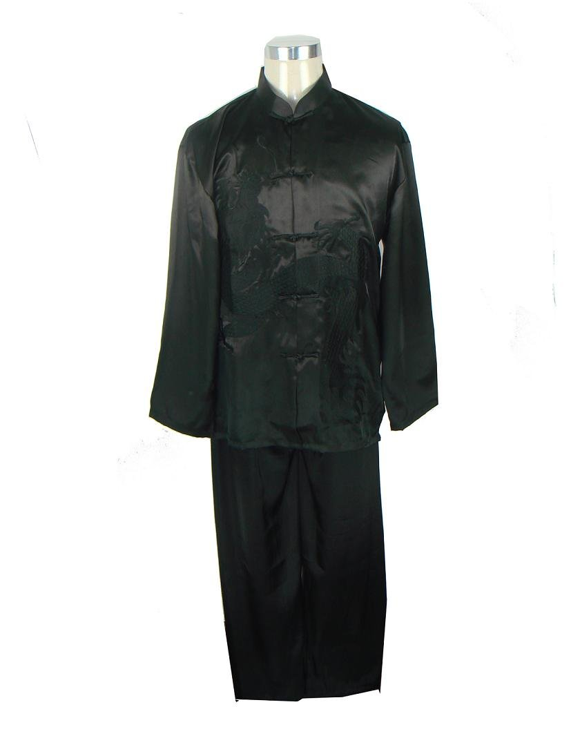 Black Tradition Chinese Men's Kung Fu Jacket Trousers Suit Embroider Dragon S M L XL XXL M0014
