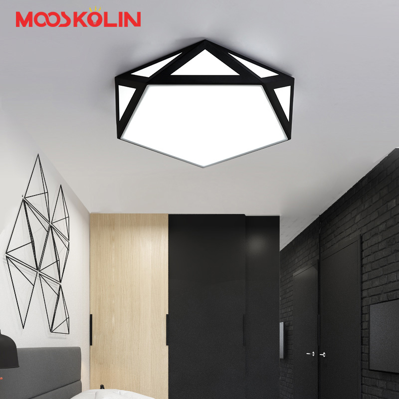 2017 New Arrival Black/White LED Ceiling Chandeliers For Living Study Room Bedroom Hallway Iron Modern Led Ceiling Chandelier european style living room modern minimalist white pastoral led chandelier ceiling bedroom chandeliers