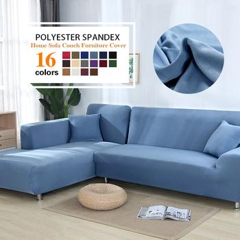 Szary kolor narzuta na sofę elastyczna narzuta na sofę s do salonu Copridivano poszewki na kanapę przekrój narożny w kształcie litery L narzuta na sofę tanie i dobre opinie coolazy 145-185cm sofa cover Plain Dyed Europe Solid Podwójne siedzenia kanapa 100 Polyester 24 colors 600g-1200g 1 piece