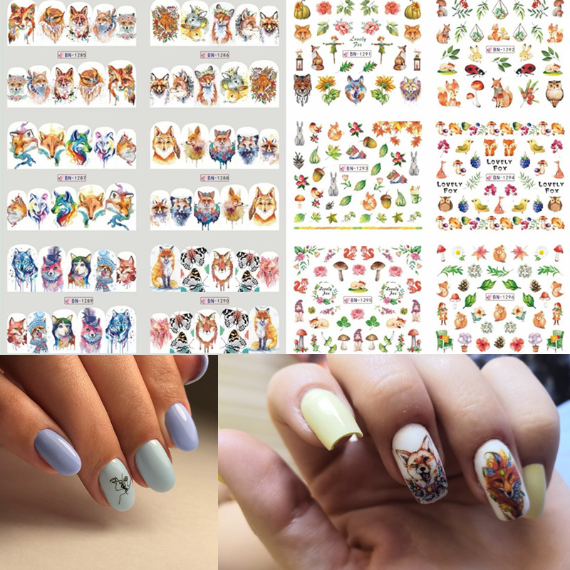 1 pc Fox Tiger Nail Sticker Flamingo Water Flower Series Art Transfer Stickers Full Wraps Deer Lavender Tips DIY