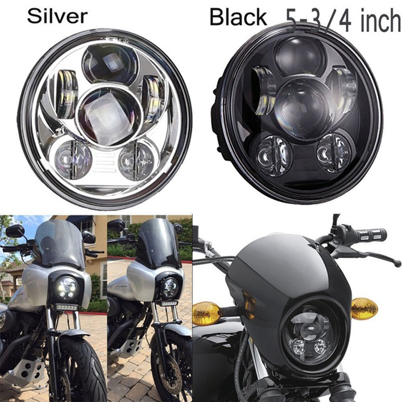 Black/Chrome 5.75 LED Headlight ,5 3/4 Front Driving Head Lights Motorcycle Headlamp For Softail, Dyna And Sportster Models