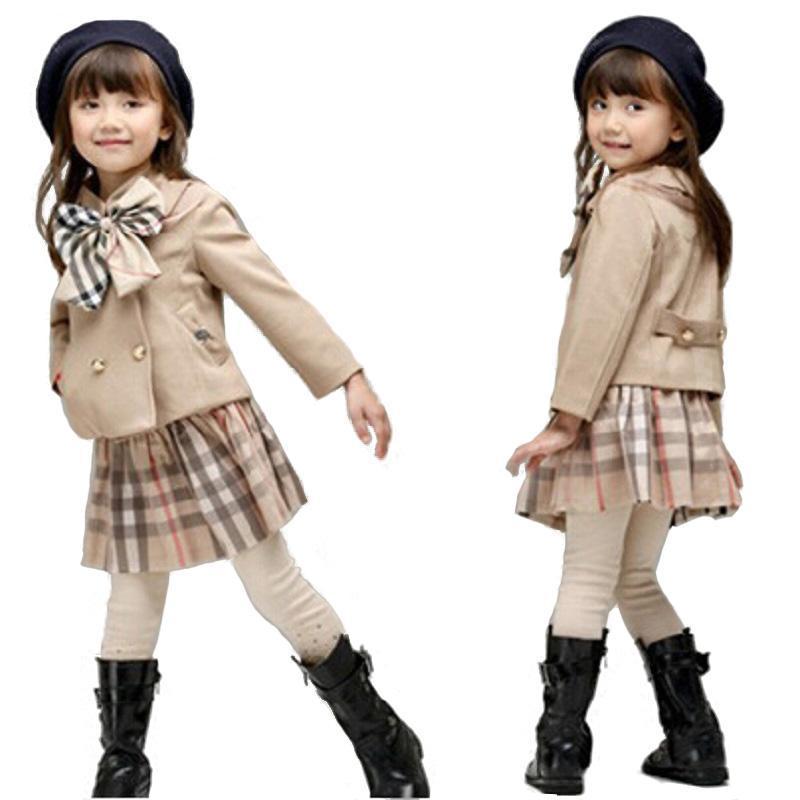 2017 New Fashion Children Outfits Tracksuit Brand Clothing baby girls coat + grid tutu skirt Suit girls Clothing Set