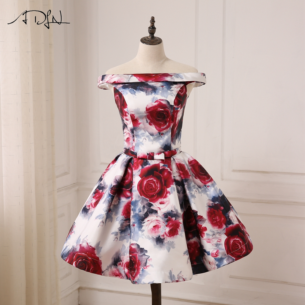 ADLN Cheap Off the Shoulder Floral Print   Cocktail     Dresses   Lace-up Back A-line Mini Length Prom Party Gowns Custom Made