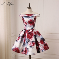 ADLN Cheap Off The Shoulder Floral Print Cocktail Dresses Lace Up Back A Line Mini Length