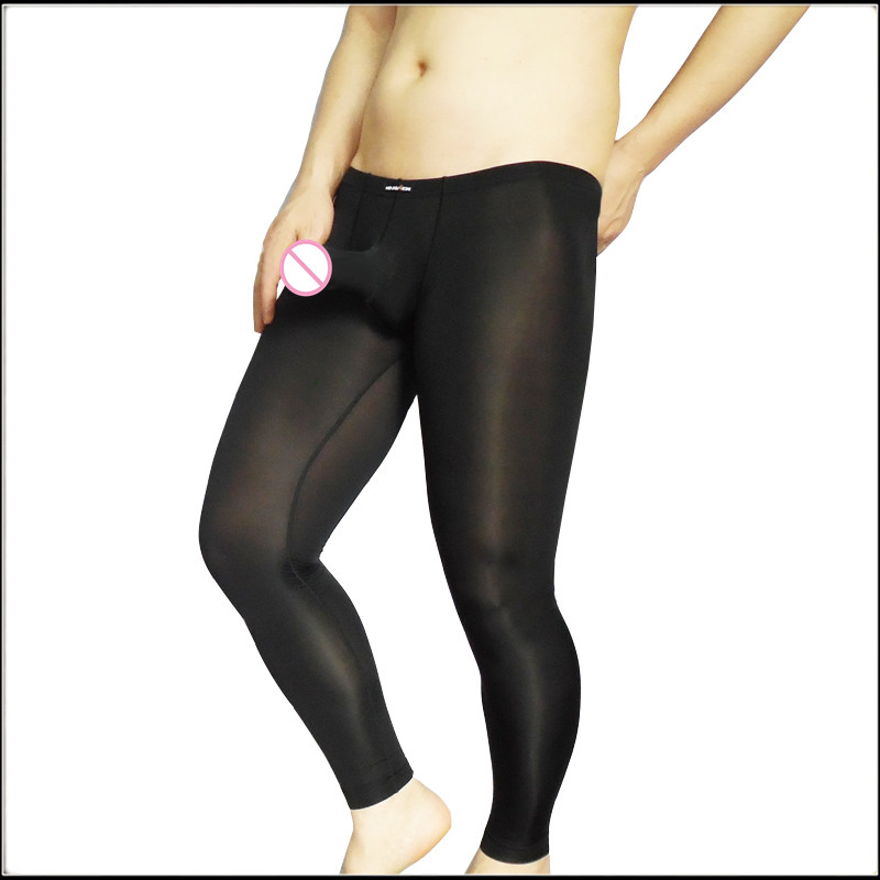 Men Sexy Long Johns Brand Comfortable Ultra-thin Sleepwear Low-waist Trousers  Pouch Tight-fitting Ice Silk Underpants