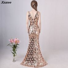 Sexy Gold Mermaid Sequins Dress Backless V-neck Long Evening Party Club Silver Maxi Dress Prom Dresses