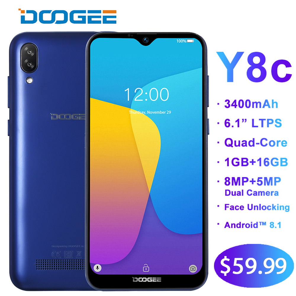 DOOGEE Y8c 6.1inch 19:9 Waterdrop LTPS Android 8.1 Screen Smartphone Face unlocking 3400mAh 16GB ROM 8MP+5MP Mobile Phone WCDMADOOGEE Y8c 6.1inch 19:9 Waterdrop LTPS Android 8.1 Screen Smartphone Face unlocking 3400mAh 16GB ROM 8MP+5MP Mobile Phone WCDMA