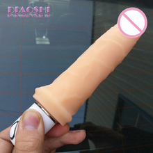 DIAOSHI 20.5×4.1cm Super Soft flexible Silicone dildo, Realistic Vibration dildos,penis vibrator,Sex Products Dick Toy for women