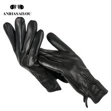2019 przytulne męskie skórzane rękawiczki kożuch męskie skórzane rękawiczki miękkie ciepłe rękawiczki męskie zimowe dotykowy rękawiczki czarne rękawiczki męskie-733 tanie tanio anihasaiyou Prawdziwej skóry Dla dorosłych Stałe Nadgarstek Moda