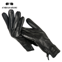 2020 Cozy mens leather gloves sheepskin men #8217 s leather gloves soft warm gloves male winter touch gloves Black men #8217 s gloves-733 cheap anihasaiyou Adult Genuine Leather Solid Wrist Gloves Mittens Fashion