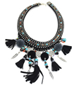 New Handmade women Leather Black Moon crescent tattoo tribal Choker necklace Multicolors Pompoms tassel Punk choker Necklace