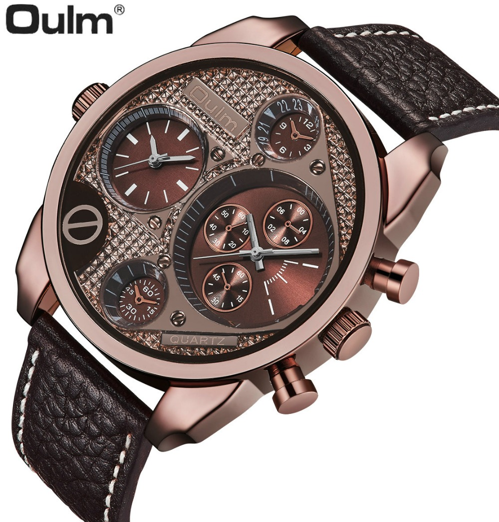 OULM Military Outdoor Oversize Watch Men Dual Time Zone Genuine Leather Band Rose Gold Case Top Brand Luxury Quartz Wristwatch цена