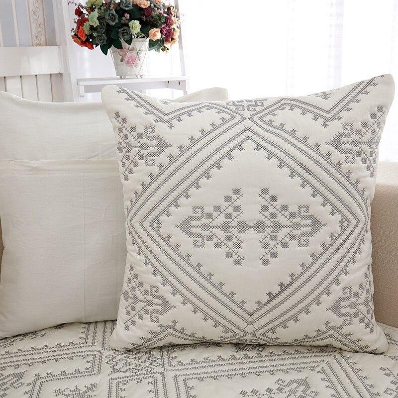 Algodón bordado sofá toalla a cuadros cuatro estaciones sofá cojín ...