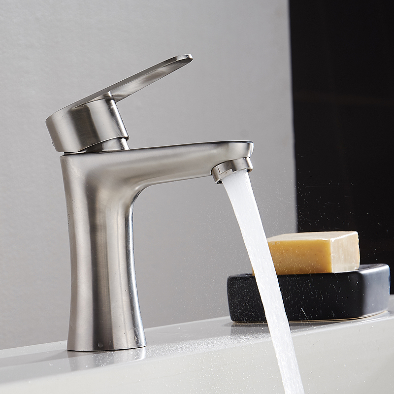 Bathroom Faucet, 304 Stainless Steel, Hot and Cold Water Single Hole Basin Faucet Rotating Seat Wash Basin Faucet wall of the cold and hot water tap copper concealed washbasin single hole basin faucet stainless steel waterfall faucet lt 304 4