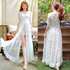 Retro Literature And Art Fairy Skirts 2 Piece Split Embroidery Summer New Lace V Collar Dress