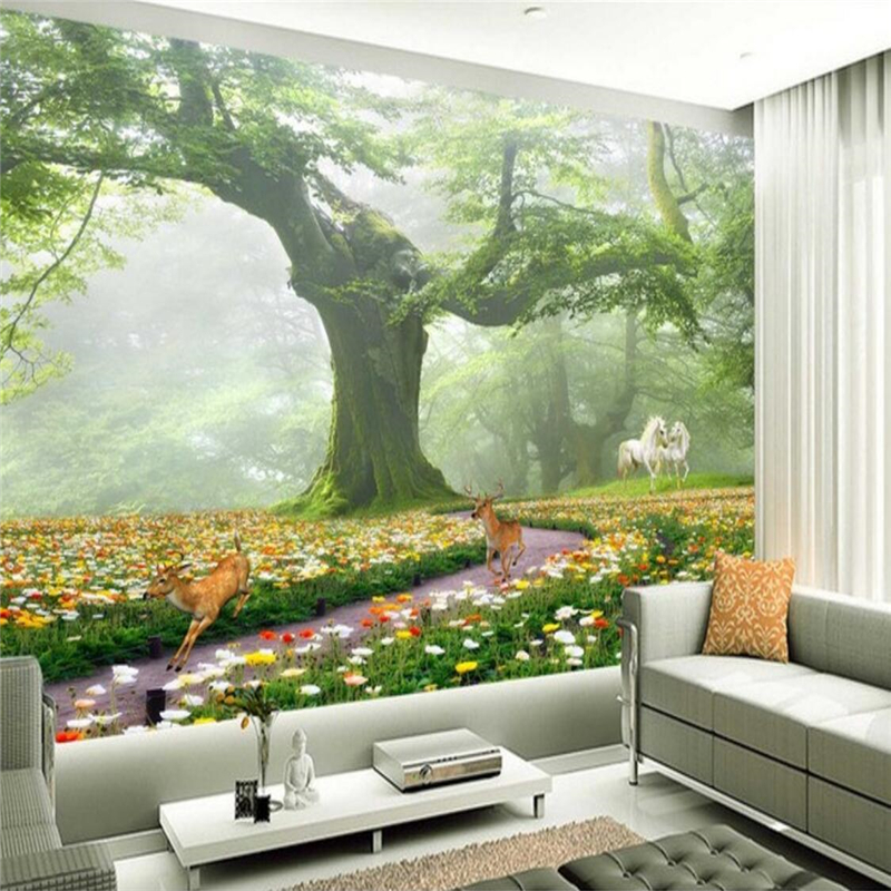 beibehang Custom Photo Wallpaper Mural Wall Stickers Fantasy Forest TV Walls papel de parede 3d para sala atacado 3d wallpaper beibehang beautiful rose sea living room 3d flooring tiles papel de parede para quarto photo wall mural wallpaper roll walls 3d